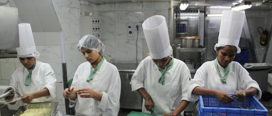 The girls receive training in bulk Indian cooking from recognised institutions to ensure quality and nutrition standards